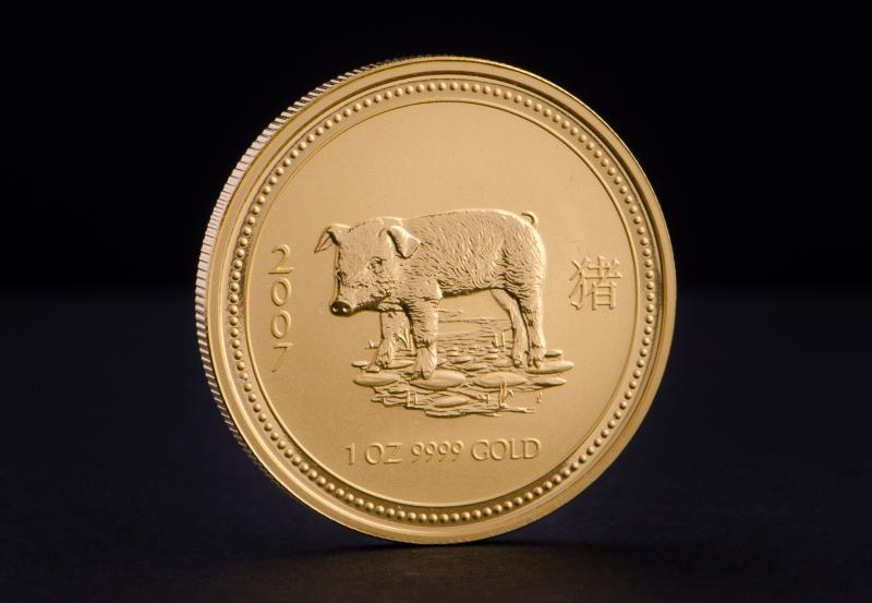 2007 Australian Gold Lunar Year of the Pig 1 oz