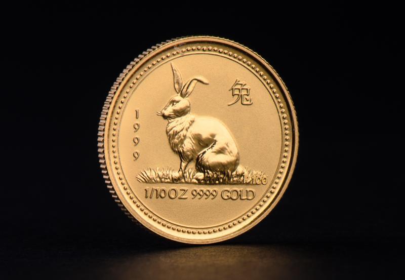 1999 1 oz Australian Gold Lunar Year of the Rabbit
