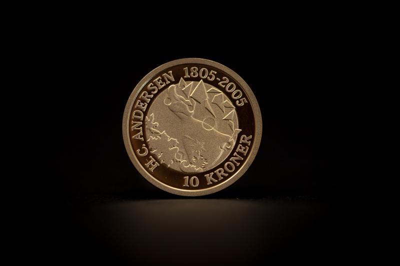 H. C. Andersen 10 kroner guldmønt (8.65g)