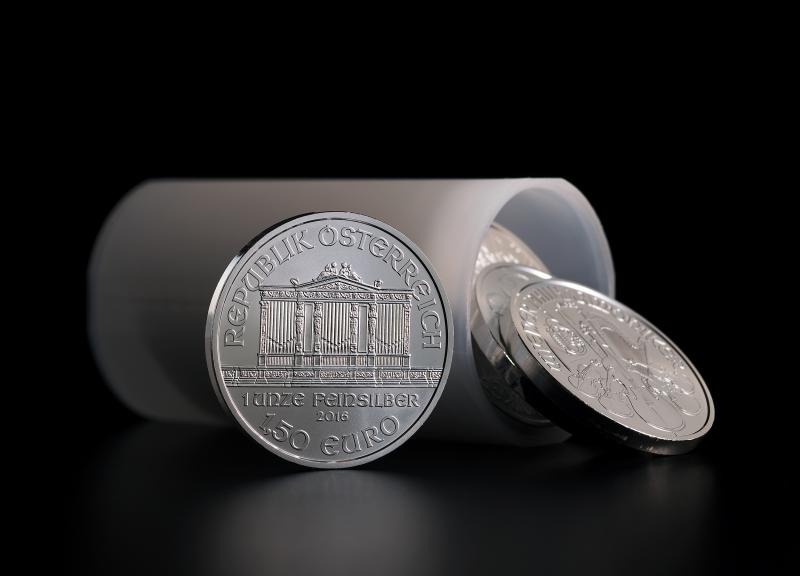 Silver Coin Austrian Philharmoniker in a tube of 20 coins