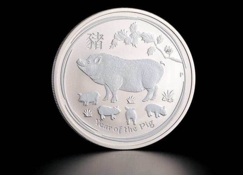 1 oz Australsk Lunar Sølvmønt Grisens År 2019
