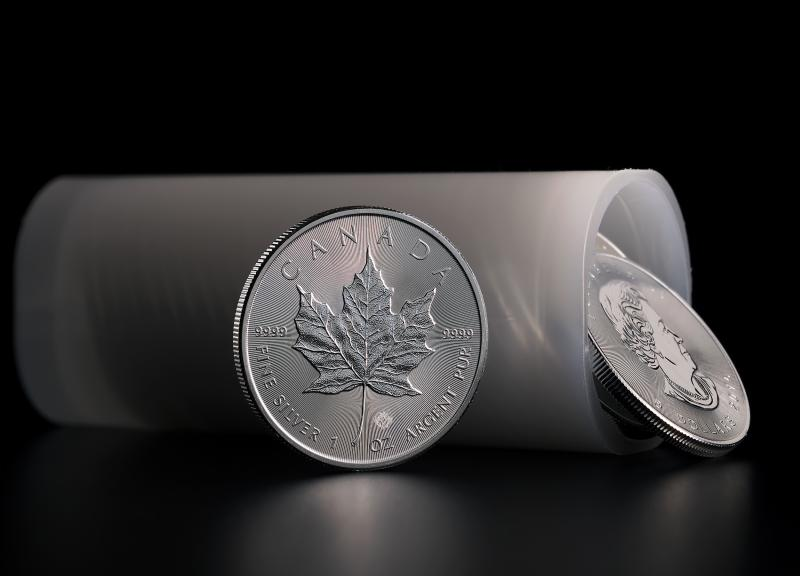 Silver Coin Canadian Maple Leaf in a tube of 25 coins