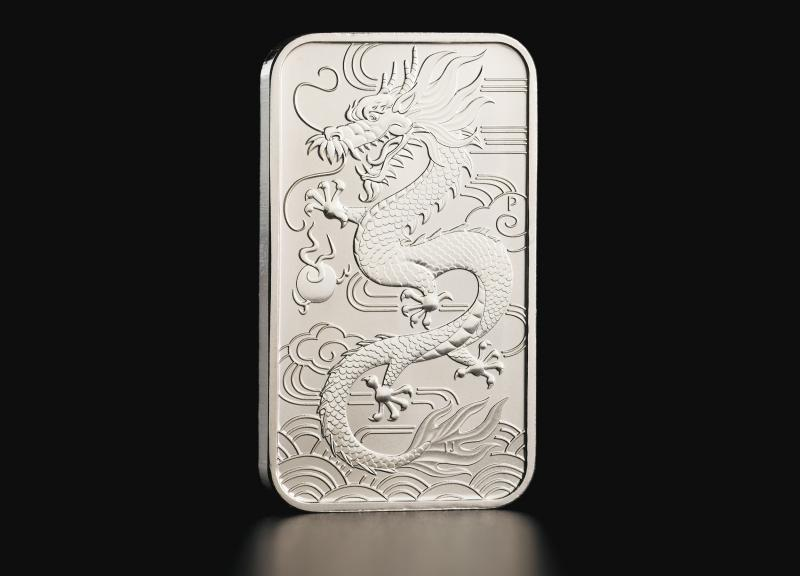 1 oz Australian Dragon 2018 rectangular silver coin
