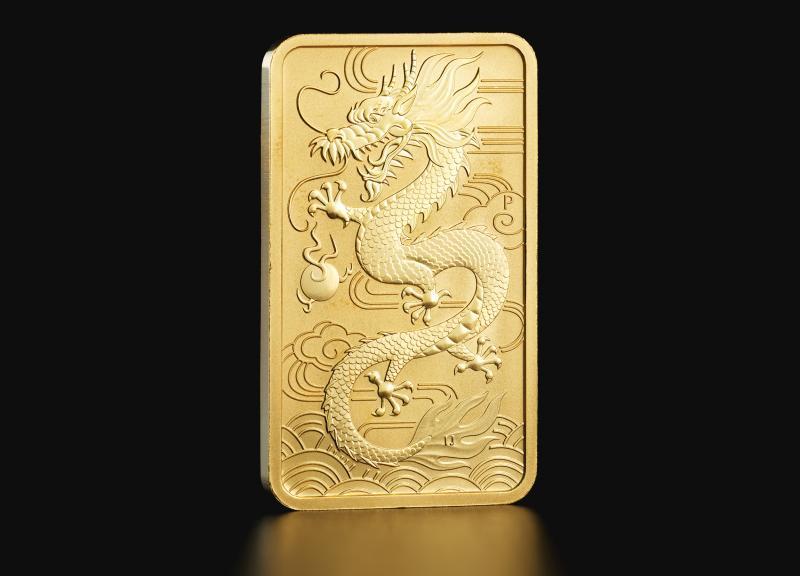 1 oz Australian Dragon 2018 rectangular gold coin