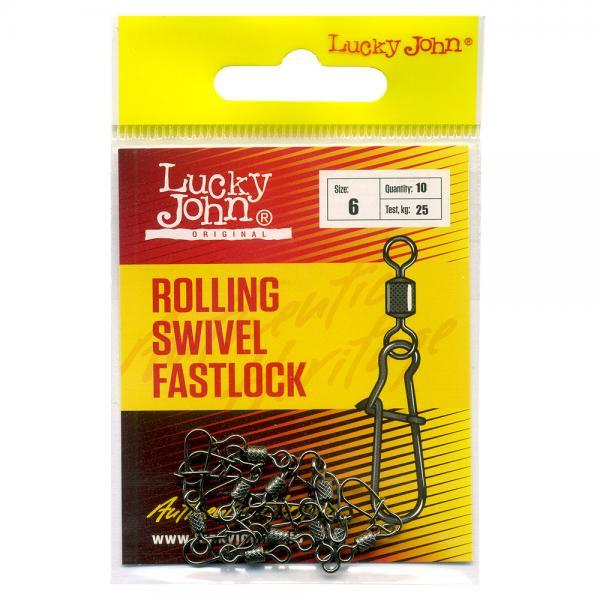Karabiin LJ Rolling Swivel Fastlock #6 25kg 10tk