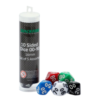 Blackfire Dice - 16mm Assorted D10 Dice 00-90 (5 Dice)