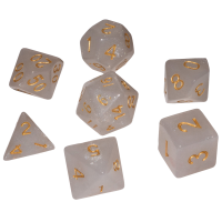 Blackfire Dice - 16mm Role Playing Dice Set - Frozen White (7 Dice)
