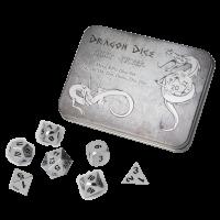 Blackfire Dice - Metal Dice Set - Silver (7 Dice)