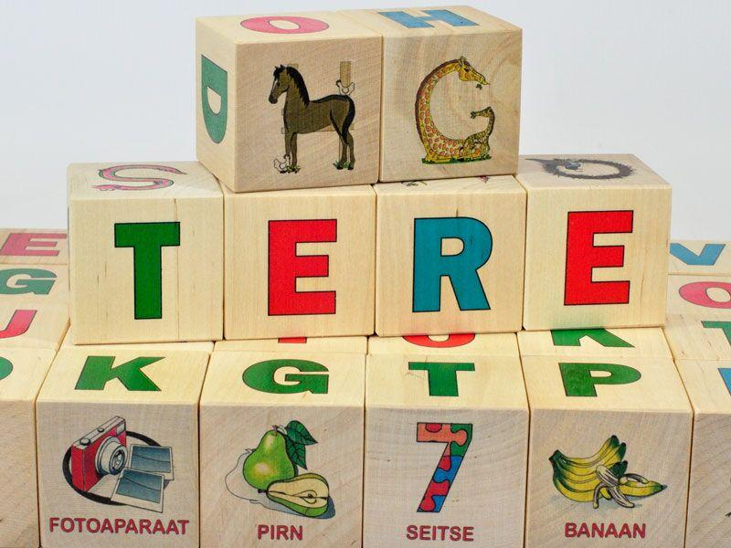Wooden blocks Estonian alphabet