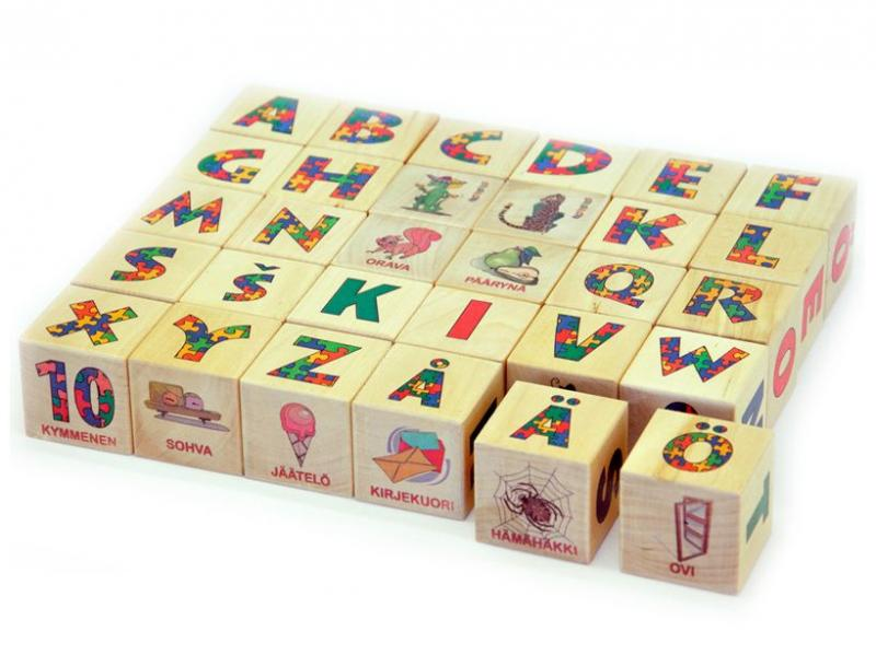 Holzblöcke Finnisches alphabet