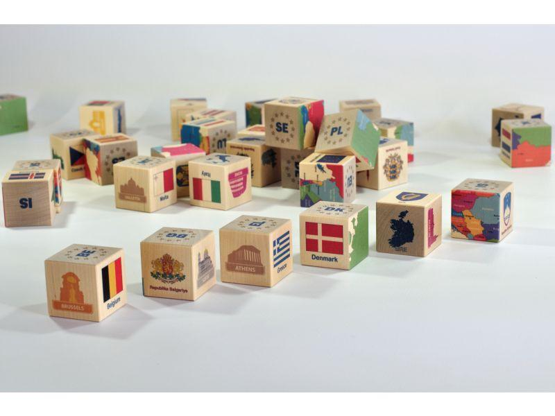 Wooden blocks European countries