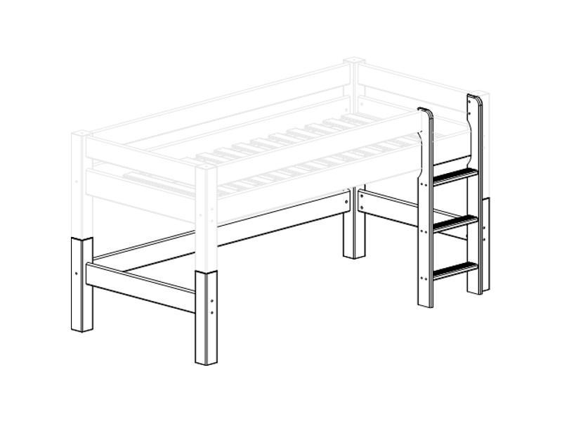 Püstredel jalgadega poolkõrgele voodile LAHE 90x200 valge