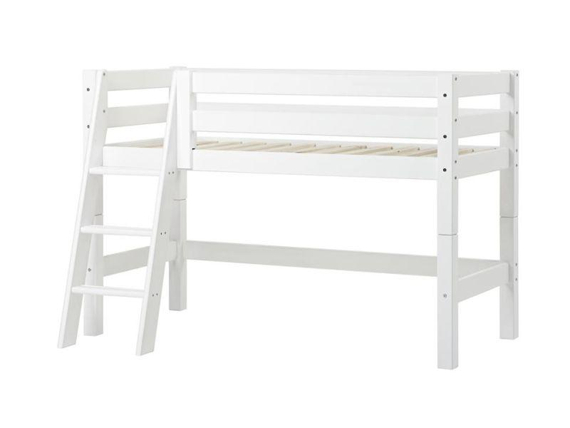 PREMIUM half high bed 70x160cm with slant ladder - white