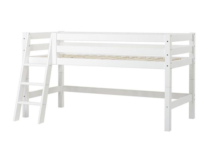 Poolkõrge voodi PREMIUM 90x200 kaldredeliga valge