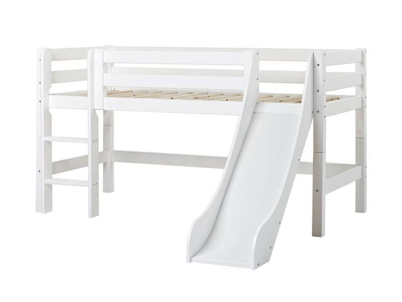 PREMIUM half high bed 90x200cm with slide - white