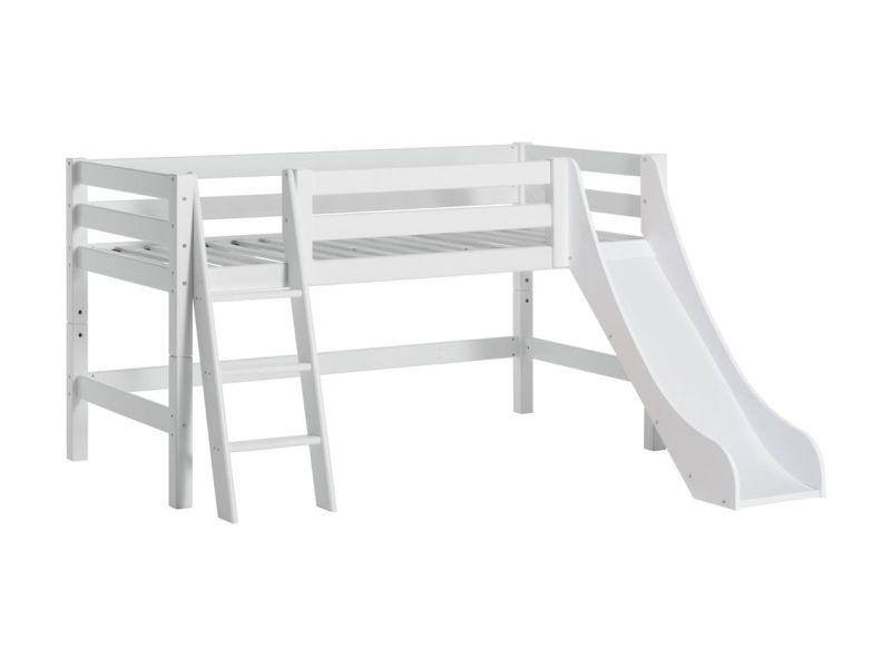 PREMIUM half high bed 90x200cm with slide and slant ladder - white
