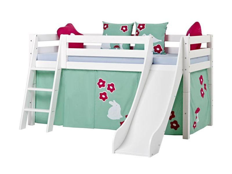 Halfhigh Bed PREMIUM 90x200 with slide and slant ladder