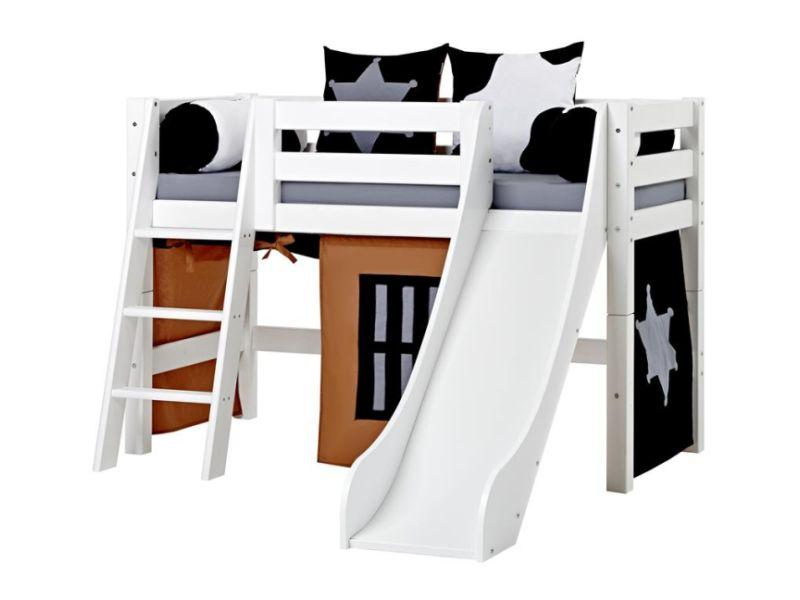 Halfhigh Bed PREMIUM 70x160 with slide and slant ladder