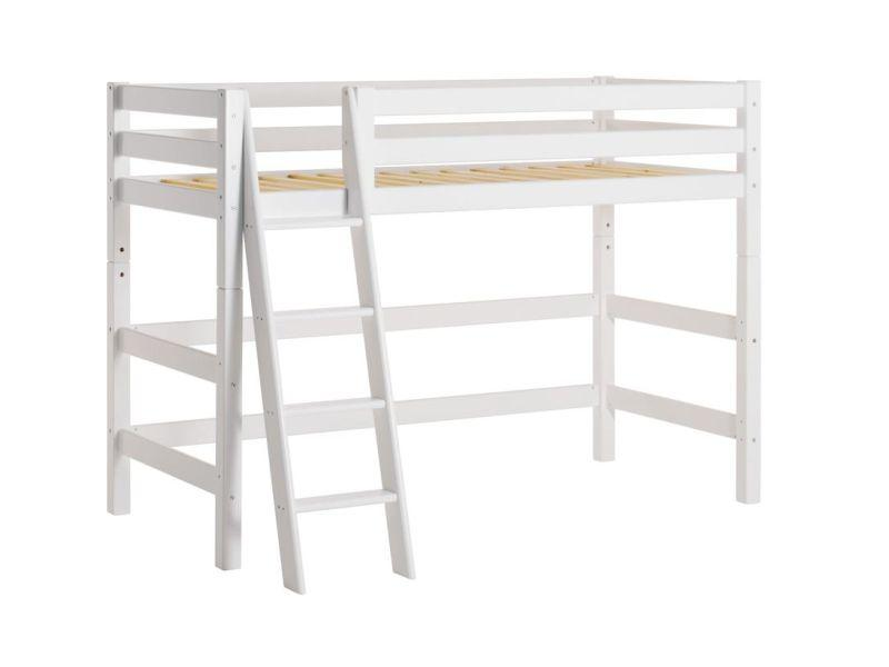 Hoppekids PREMIUM mid high bed 90x200 cm, Slant ladder - white
