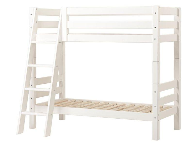 PREMIUM Bunk bed 90x200cm with slant ladder - white