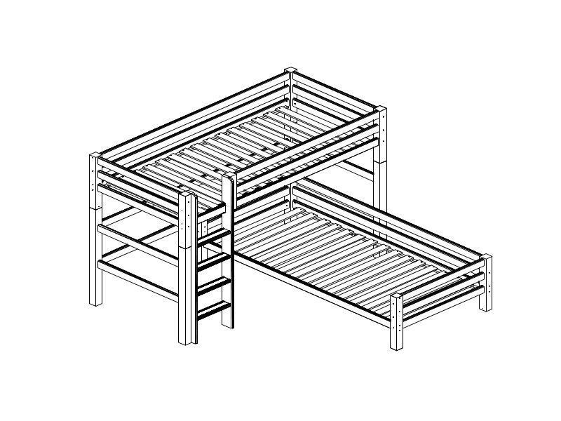 Nurgaga kõrge voodi PREMIUM püstredeliga 90x200 valge