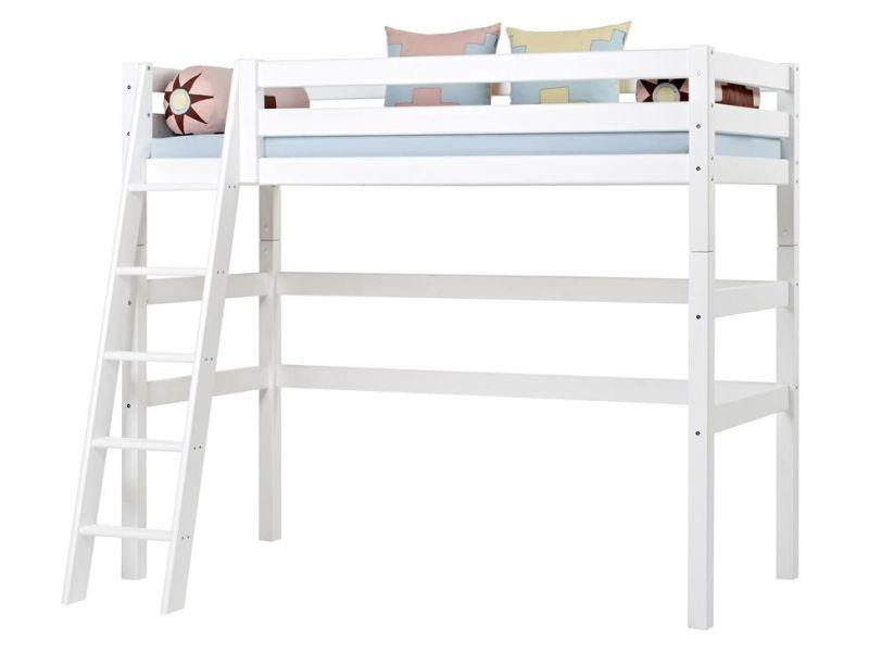 PREMIUM High sleeper 90x200cm with slant ladder - white