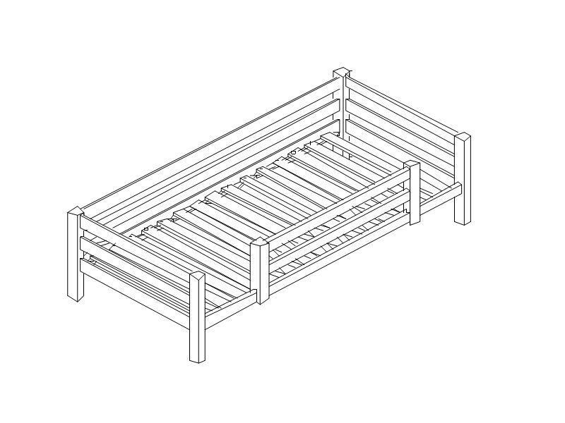 Junior bed with safety rail 1/2 PREMIUM 70x160