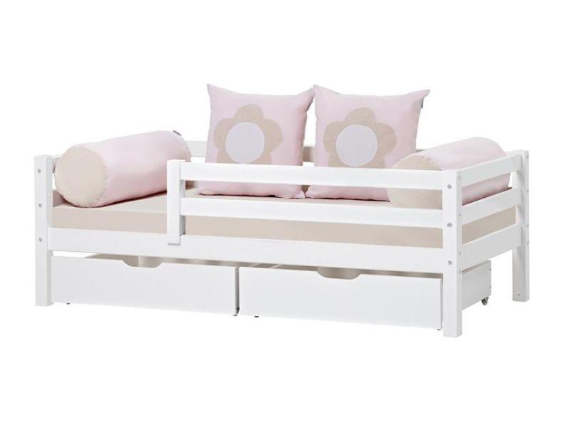 Esi- ja tagapiirdega voodi BASIC 70x160 valge