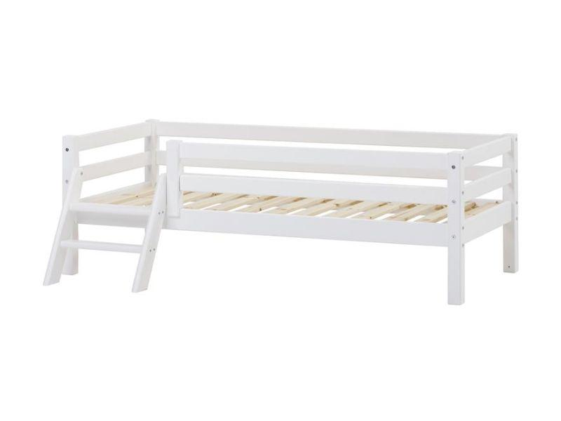 Piirete ja redeliga voodi BASIC 70x160 valge