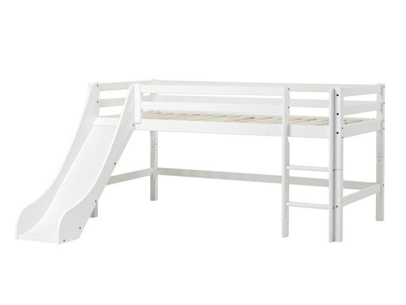 Halfhigh Bed BASIC 90x200 with slide, white