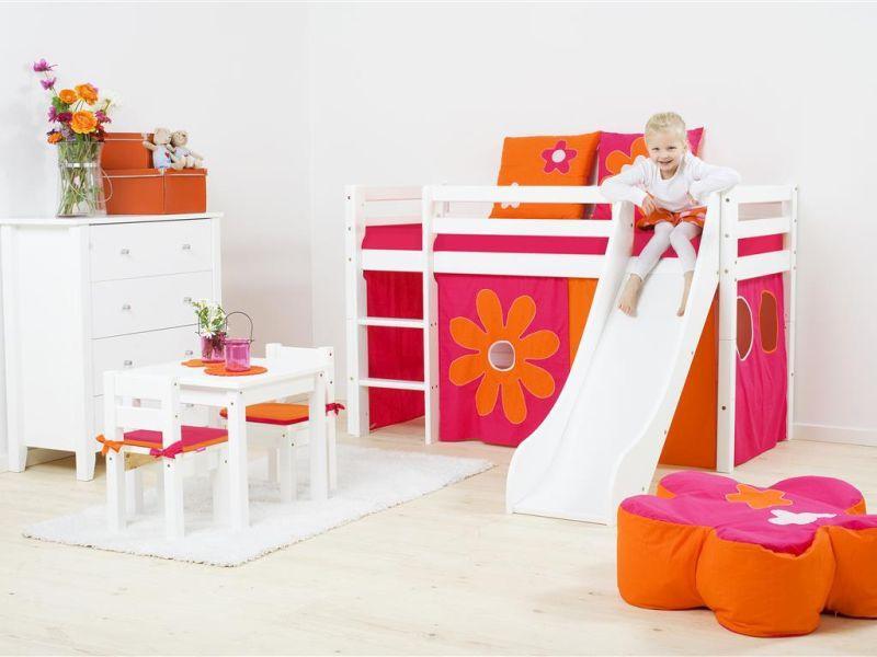 Poolkõrge voodi BASIC liumäega 70x160 valge