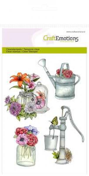 Silikoontempel CraftEmotions - pump watering can Botanical Summer