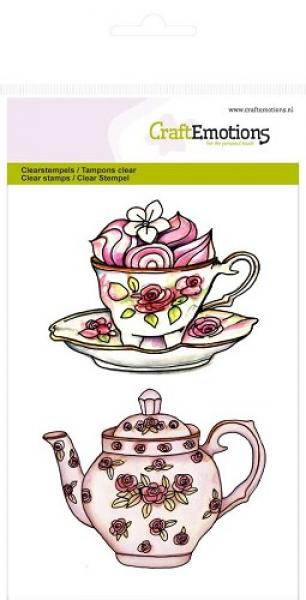 Silikon tempel, CraftEmotions, 130501/1061, High Tea Rose-Teapot cup and saucer