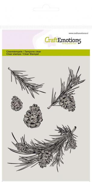 Silikon tempel, CraftEmotions, 130501/1044, Winter Woods-Pine branch and pine cones