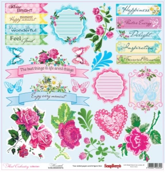 Paber 30x30cm, ScrapBerrys, Floral Embroidery collection, Hemstitch