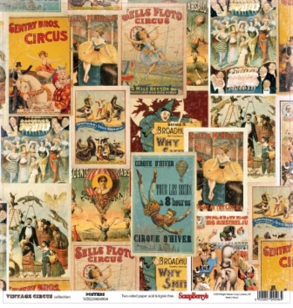 Paber 30x30cm, ScrapBerrys, Vintage circus collection, Posters