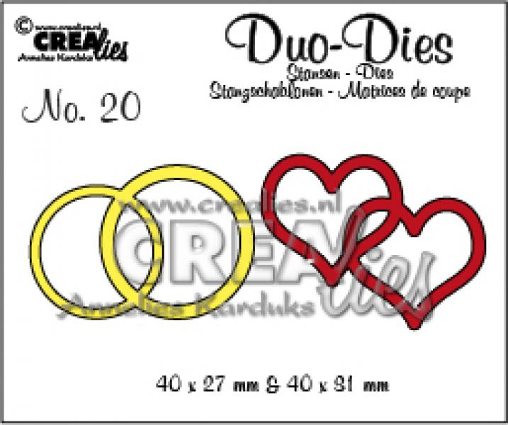 Lõiketera Crealies Duo Die no. 19 double rings and hearts