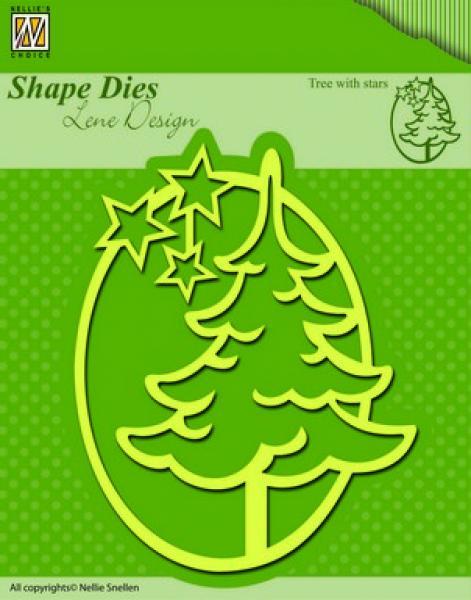 Nellies Choice Shape Die - Xmas Snowy tree with stars