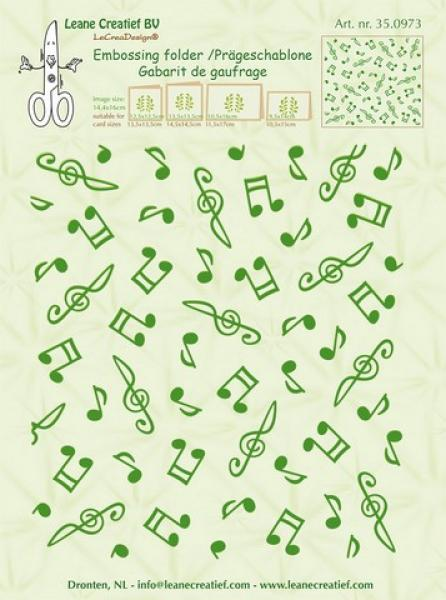 LeCrea - Embossing folder background Musical symbols 14,4x16cm