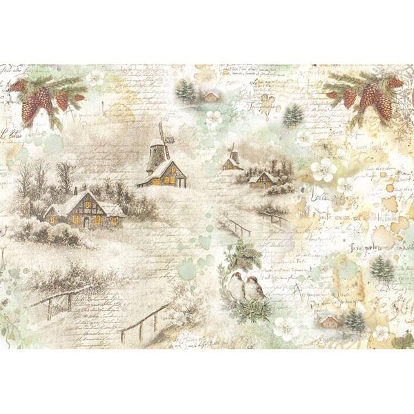 Stamberia rice paper 48x33 snowy landscapes - pine cone and tiny birds
