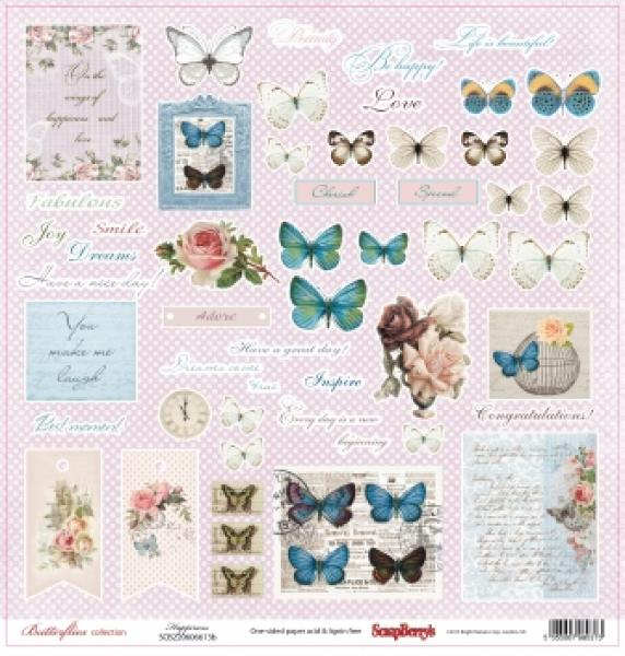 Paber 30x30 ScrapBerrys Butterflies collection Happiness