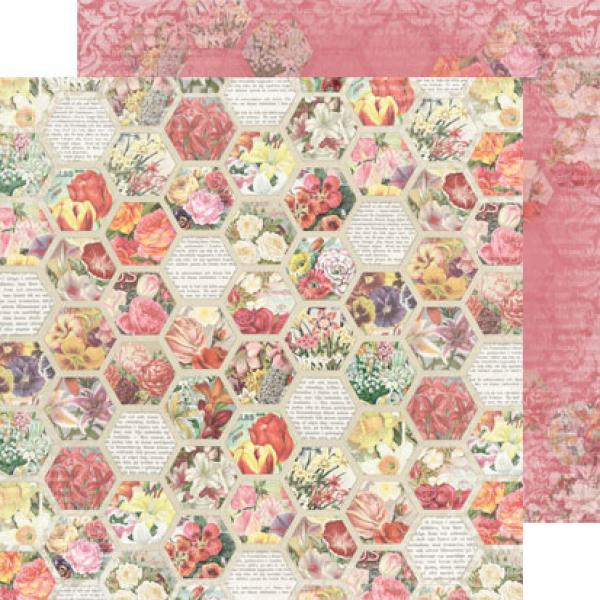 Disainpaber 30x30, REPRINT Hobby flower hexagon
