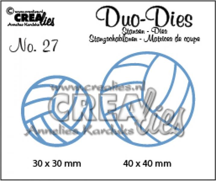 Crealies Duo Dies no. 27 volleyballs 30x30mm-40x40mm