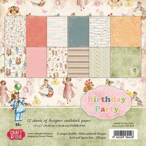 Paberiplokk  30x30 Craft&You Birthday Party 12 lehte