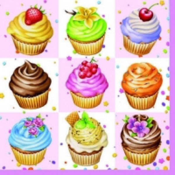 Salvrätikud 33x33 cm 20 tk kompl Cupcakes Square Pink