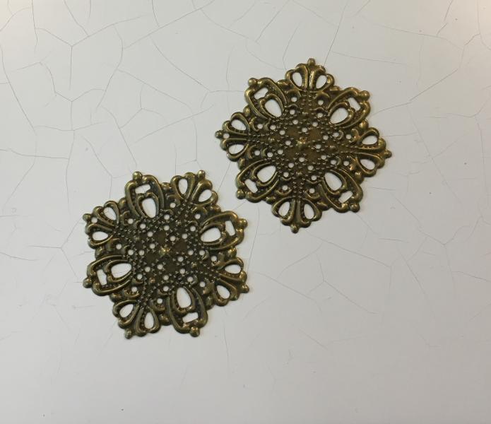 Metallfiligree, 4,5cm, pronks, ümar 1tk