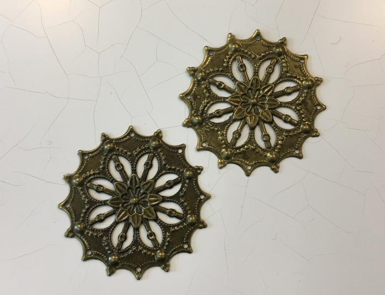 Metallfiligree, 4,5cm, pronks, ümar