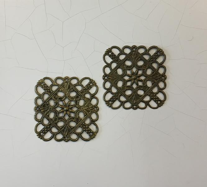 Metallfiligree, 4x4cm, ruudukujuline