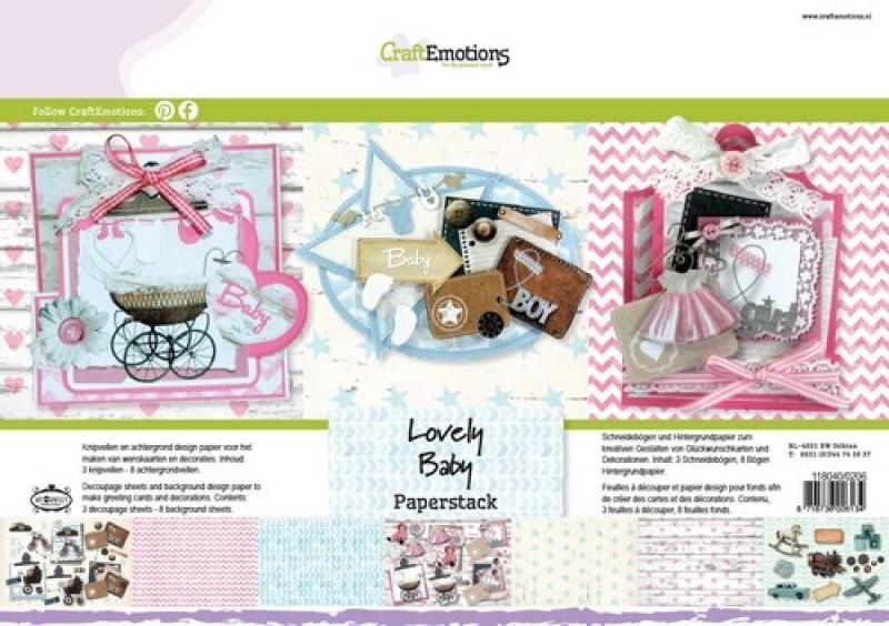 CraftEmotions Paper stack Lovely Baby 11 sheets A4