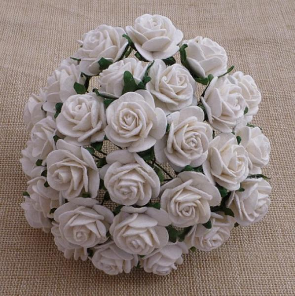 White Mulberry paper open roses MKX-013-25mm 5tk